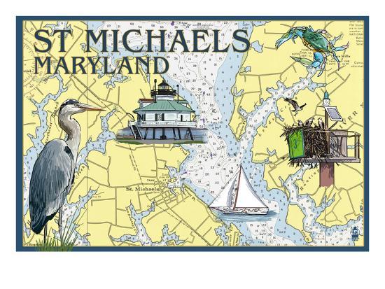 St. Michaels, Maryland - Nautical Chart-Lantern Press-Art Print
