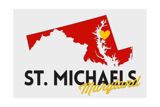 St. Michaels, Maryland - Red and Black - State Outline and Heart-Lantern Press-Art Print
