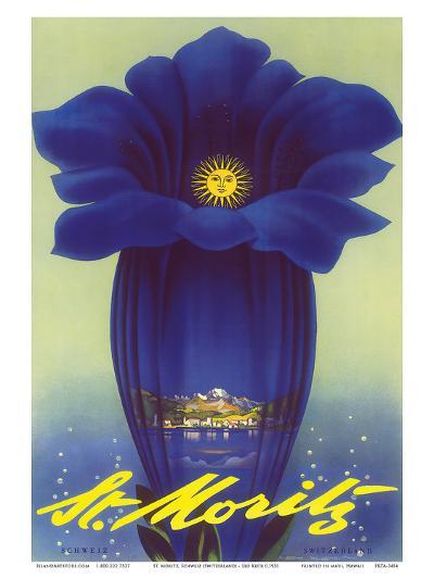 St. Moritz, Schweiz (Switzerland) - Blue Trumpet Gentian Flower-Leo Keck-Art Print