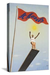 St Moritz Travel Poster, Art Deco Diving Board Woman, 1930's