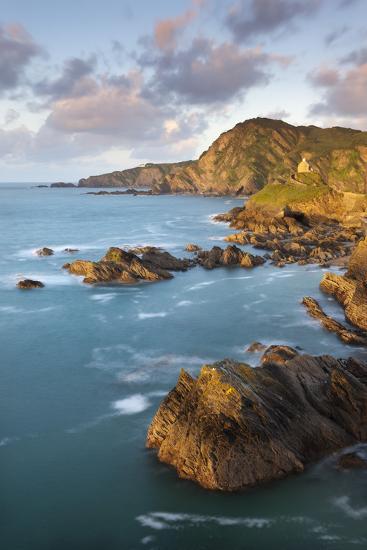 St Nicholas Chapel and Beacon Point on the Rocky Coast of Ilfracombe, Devon, England. Spring-Adam Burton-Photographic Print