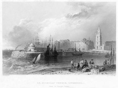 St Nicholas' Church, Liverpool, 1841-William Henry Bartlett-Giclee Print