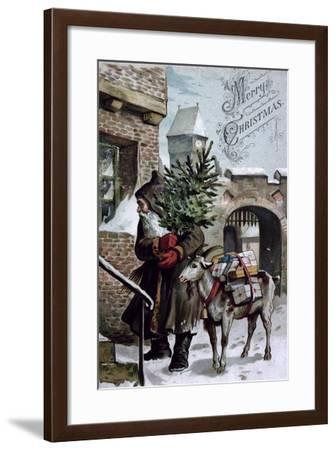 St. Nicholas Delivering Presents, Christmas Card, C.1900's--Framed Giclee Print