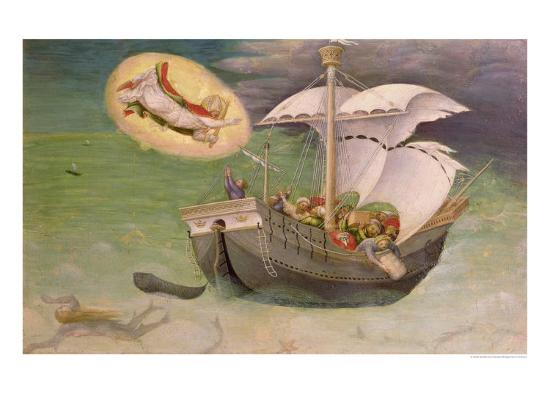 St. Nicholas Saves a Ship from Wreckage, Predella Panel from the Quaratesi Altarpiece, 1425-Gentile Da Fabriano-Giclee Print