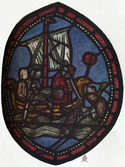 'St Nicholas window in the Jerusalem Chamber of Westminster Abbey: Nicholas and the false pilgrim'-Unknown-Giclee Print