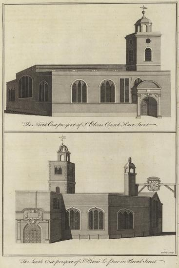 St Olive's Church, Hart Street and Church of St Peter Le Poor, Broad Street, London--Giclee Print