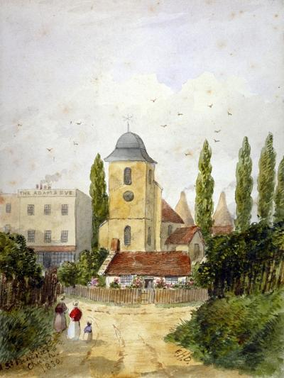 St Pancras Old Church and the Adam and Eve Tavern, London, 1830-EH Dixon-Giclee Print