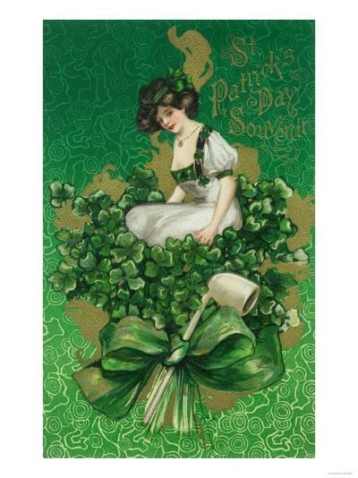 St. Patrick Day Souvenir Woman on Clover Scene-Lantern Press-Art Print