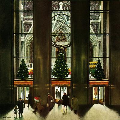 """St. Patrick's Cathedral at Christmas,"" December 3, 1949-John Falter-Giclee Print"