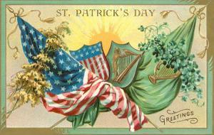 St. Patrick's Day, American and Irish Flags