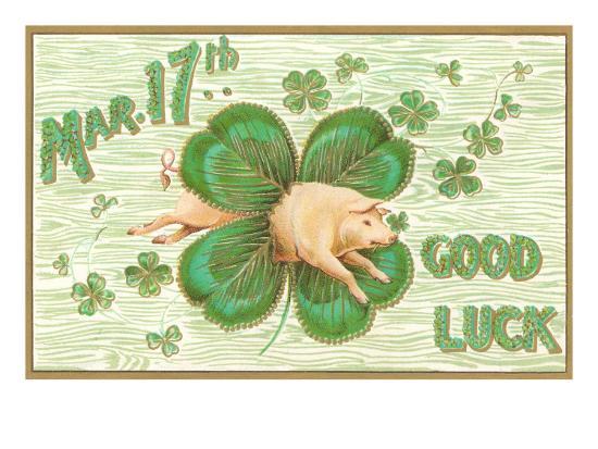 St. Patrick's Day, Pig and Shamrock--Art Print