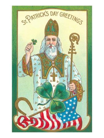St Patrick/'s Day Postcard: Vintage Repro Print St Patrick with Snakes