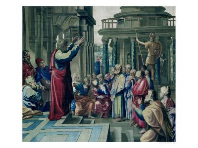 St. Paul Preaching at the Areopagus, from a Series Depicting the Acts of the Apostles-Raphael-Giclee Print