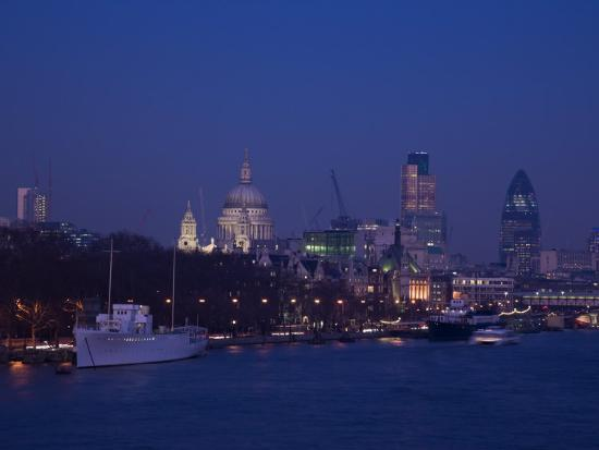 St. Paul's Cathedral and the City of London Skyline at Night, London, England, United Kingdom-Amanda Hall-Photographic Print
