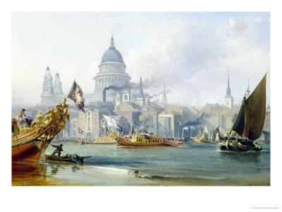 St. Paul's Cathedral and the City of London-George Chambers-Giclee Print