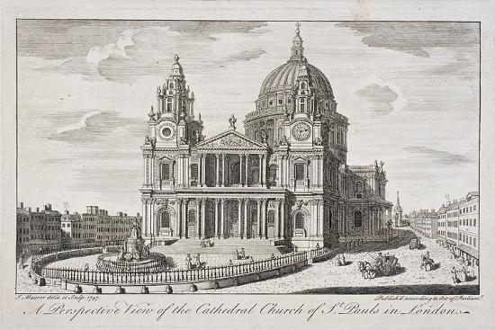 St Paul's Cathedral Exterior, London, 1747-John Maurer-Giclee Print