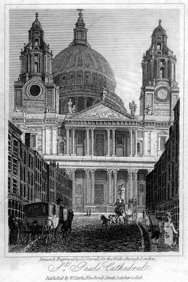 St Paul's Cathedral, London, 1816-JC Varrall-Giclee Print