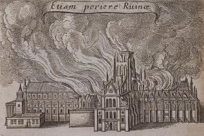St Paul's Cathedral, London, on Fire, 1666-Wenceslaus Hollar-Giclee Print