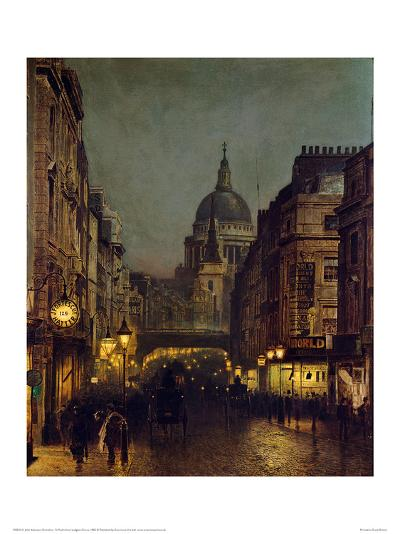 St. Paul's From Ludgate Circus-John Atkinson Grimshaw-Giclee Print