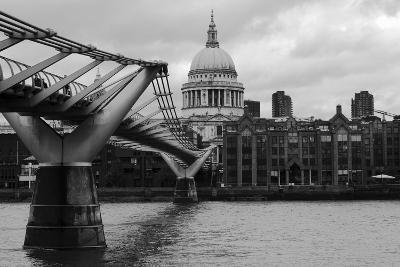St Paul's Millennium Bridge BW-Toula Mavridou-Messer-Photographic Print