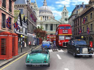 St Paul's Street Scene-Dominic Davison-Art Print