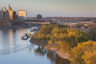 St Paul, Skyline from Mississippi River, Minneapolis, Minnesota, USA-Walter Bibikow-Photographic Print