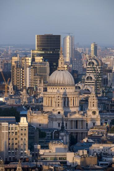 St. Pauls Cathedral and Skyline, London, England, United Kingdom, Europe-Alex Treadway-Photographic Print