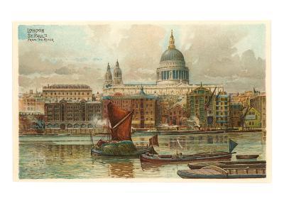 St. Pauls, Thames, London, England--Art Print
