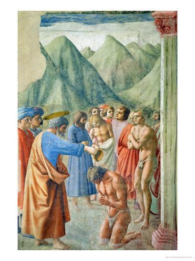 St. Peter Baptising the Neophytes, circa 1427-Tommaso Masaccio-Giclee Print