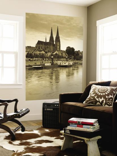 St. Peter Cathedral and Town, Dom, Regensburg, Bavaria, Germany-Walter Bibikow-Wall Mural