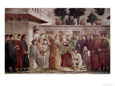St. Peter Resurrects the Child of Theophilus-Masaccio-Giclee Print