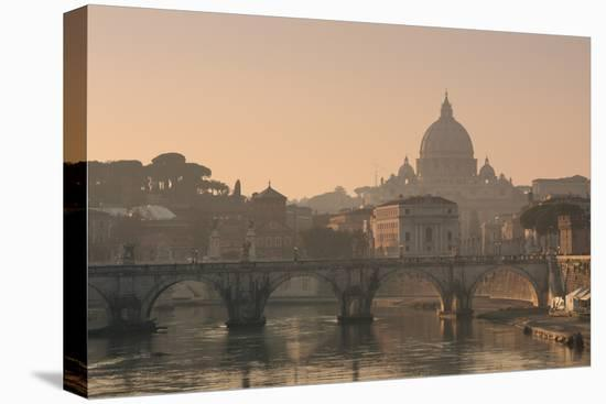 St Peter's Basilica and Ponte Sant Angelo, Rome, Italy--Stretched Canvas Print