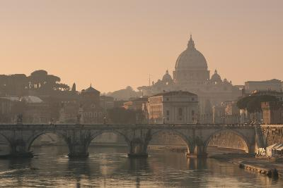 St Peter's Basilica and Ponte Sant Angelo, Rome, Italy--Photographic Print
