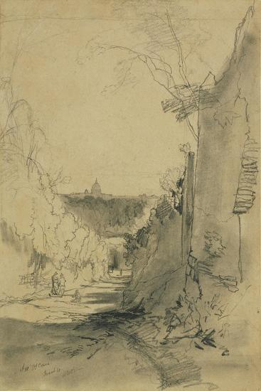 St Peter's from Arco Oscuro-Edward Lear-Giclee Print