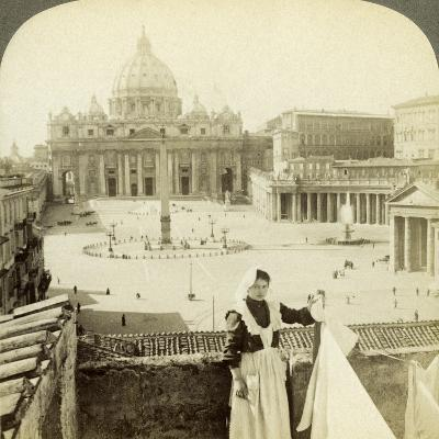 St Peter's Square and Basilica and the Vatican, Rome, Italy-Underwood & Underwood-Photographic Print
