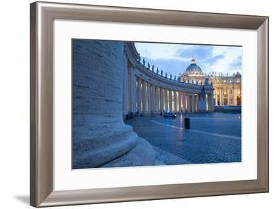 St. Peters and Piazza San Pietro at Dusk, Vatican City, UNESCO World Heritage Site, Rome, Lazio-Frank Fell-Framed Photographic Print