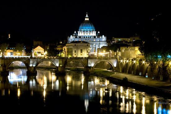 St Peters Rome At Night-Charles Bowman-Photographic Print