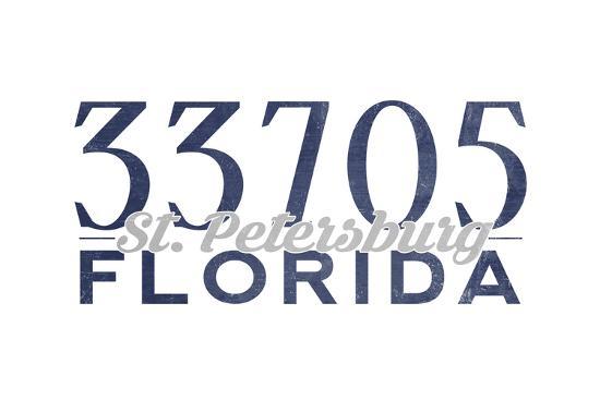 St. Petersburg, Florida - 33705 Zip Code (Blue)-Lantern Press-Art Print