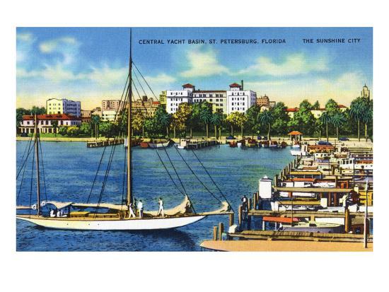 St. Petersburg, Florida - Central Yacht Basin Scene-Lantern Press-Art Print