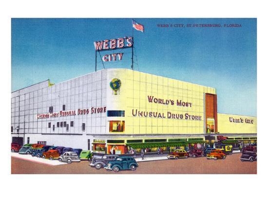 St. Petersburg, Florida - Exterior View of Webb's City Drugstore-Lantern Press-Art Print