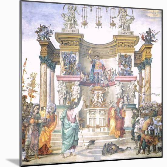 St Philip Driving Dragon from Temple of Hierapolis-Filippino Lippi-Mounted Giclee Print