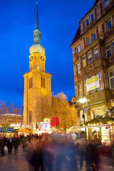 St. Reinoldi Church and Christmas Market at Dusk, Dortmund, North Rhine-Westphalia, Germany, Europe-Frank Fell-Photographic Print