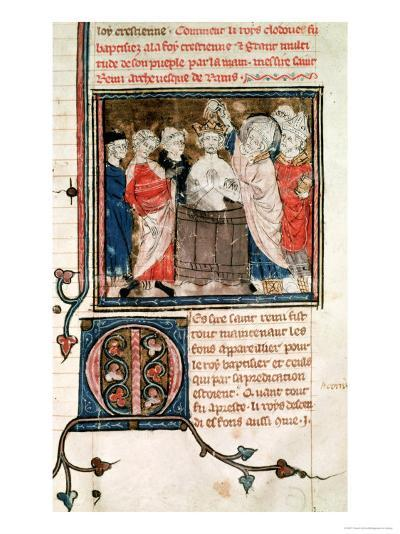 St. Remigius Bishop of Rheims, Baptising and Annointing Clovis I King of the Franks--Giclee Print