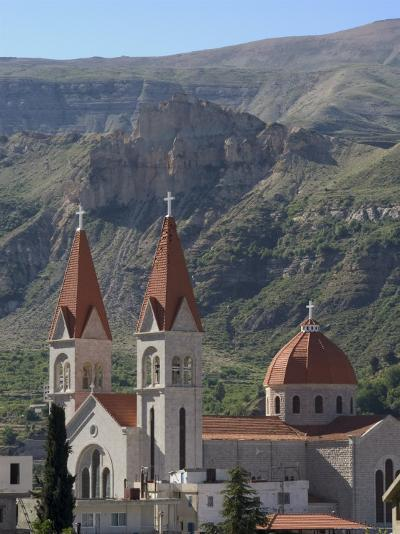 St. Saba Church, Red Tile Roofed Town, Bcharre, Qadisha Valley, North Lebanon, Middle East-Christian Kober-Photographic Print