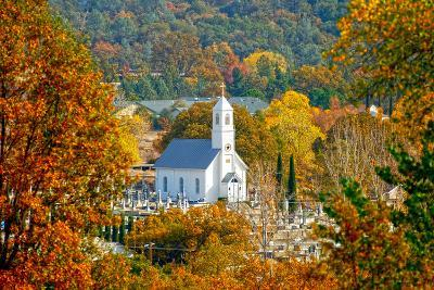 St. Sava Serbian Church and Cemetery in Jackson, California Surrounded by Fall Colors-John Alves-Photographic Print