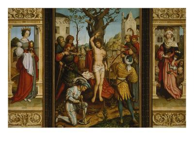 St. Sebastian's Altarpiece: Ss. Barbara and Elizabeth, Martyrdom of S. Sebastian-Hans Holbein the Younger-Giclee Print