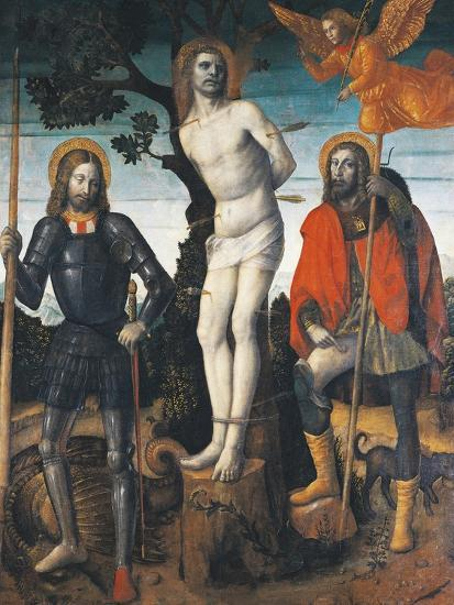 St Sebastian, St Rocco and St Giorgio, Reverse Side of the Processional  Banner of Orzinuovi Giclee Print by Vincenzo Foppa | Art com