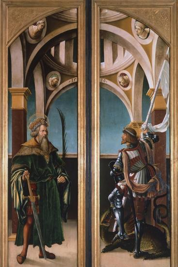 St. Sigismund and St. George, Detail from Doors of a Triptych of the Crucifixion, 1519-Hans Burgkmair-Giclee Print