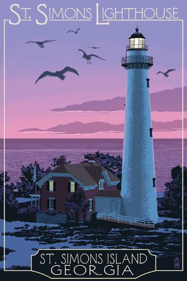 St. Simons, Georgia - Lighthouse-Lantern Press-Art Print