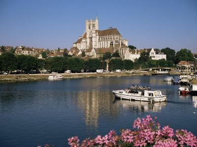 St. Stephen's Cathedral on Skyline, Auxerre, River Yonne, Bourgogne, France-Michael Short-Photographic Print